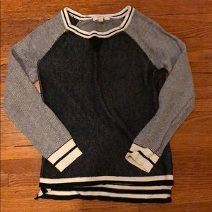 Sweater with baseball tee details